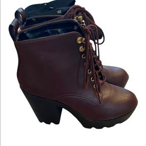 Streerwear Society Burgandy lace up boots size 10. Small scratch on nose of one